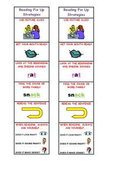 Reading Fix Up Strategies Bookmarks
