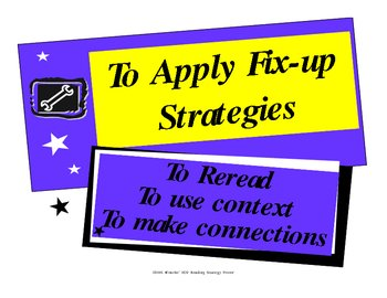 Reading Fix up Strategies {Classroom Poster}