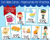 Reading Flashcards - 20 CVC Slide Cards Word Practice Kindergarten 1st Grade