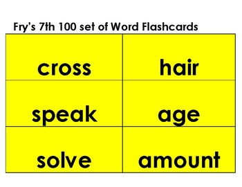 Reading-- Flashcards  Fry's Word List 7- 9 black letters yellow background