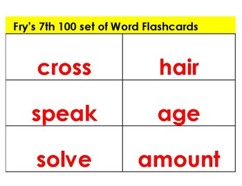 Reading-- Flashcards  Fry's Word List 7- 9 red letters white background
