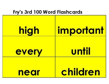 Flashcards--Fry's Word List--The second set of 200 words-- yellow background
