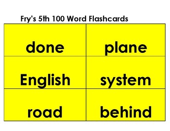 Flashcards--Fry's Word List--The third set of  200 words-- yellow background