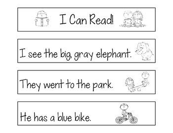 Reading Fluency Strips, Dolch Pre-Primer Words