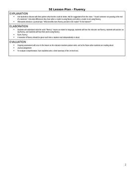 Reading Fluency 5E Lesson Plan