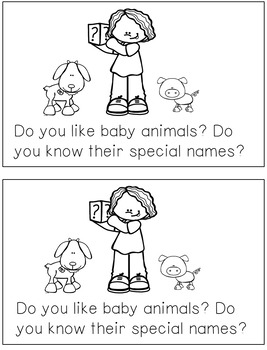 Reading Fluency Activity Book for Buddies Baby Animals