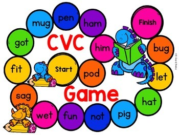 Reading Fluency Board Games {CVC, Blends, Digraphs, Sight Words, Letters}