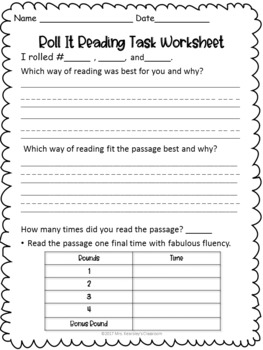 Reading Fluency Center- Roll It Reading Fluency