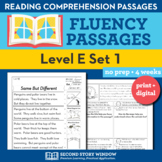 Reading Fluency Homework Level E Set 1 - Reading Comprehension Passages +Digital