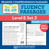 Reading Fluency Homework Level E Set 2 - Distance Learning