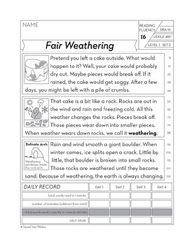 Reading Fluency Homework Level I Set 2