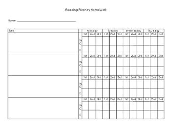 Reading Fluency Homework Sheet