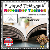 Reading Fluency Activity - November and Thanksgiving Themed Fluency Triangles®