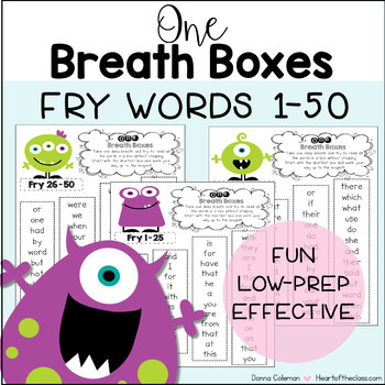 One Breath Boxes - Fry Words 1-50