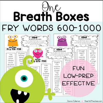 One Breath Boxes - Fry Words 600-1000