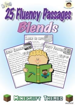 Reading Fluency Passages (Blends) 25 Minecraft Themed - No Prep  Digraphs Hi Lo