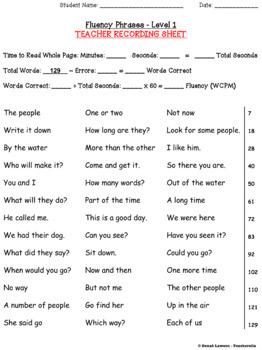 Reading Fluency Phrases Partner Game & Practice (390 Fry Phrases) - SAMPLER