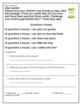 Reading Fluency Practice Sheets