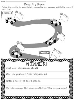 Reading Fluency Recording Sheet - Reading Race