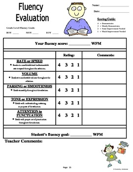 Reading: Fluency Rubrics and Evaluations