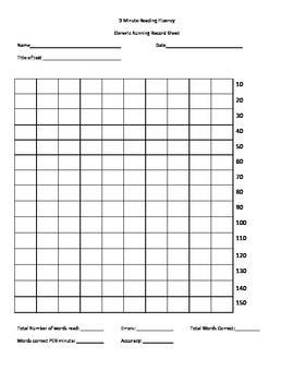 Reading Fluency Running Record Form
