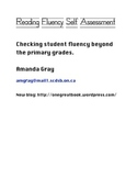 Reading Fluency Self-Assessment - Junior/Intermediate