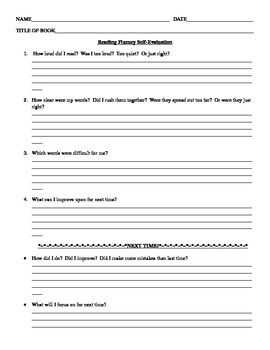 Reading Fluency Self Evaluation Form