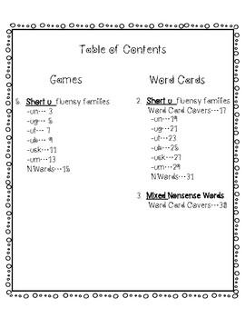 Reading Fluency Short U Word Families and Sentences