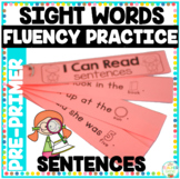 Reading Fluency Sentence Strips Pre-Primer Picture Supported