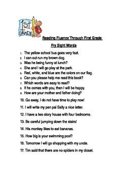 Reading Fluency Through First Grade Fry Sight Words