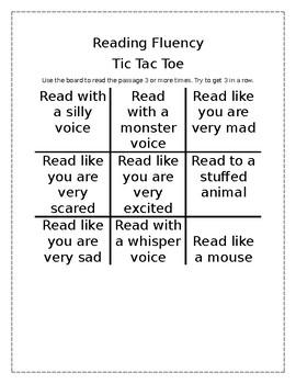 Reading Fluency Tic Tac Toe
