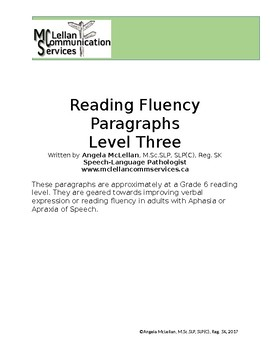 Reading Fluency & Verbal Expression Paragraphs for Aphasia and Apraxia 3