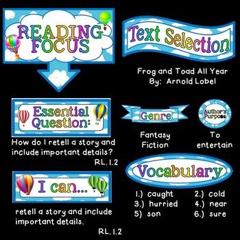 Reading Focus Wall Bulletin Set ~ HOT AIR BALLOON Themed