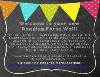 Reading Focus Wall Chalkboard