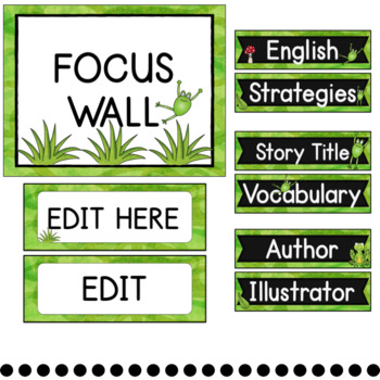 Reading Focus Wall (Frog Theme) with Banner