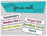 Reading Focus Wall Headers *Bright & Colorful*