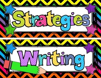 Reading Focus Wall Headers (bright chevron) with banners Third Grade