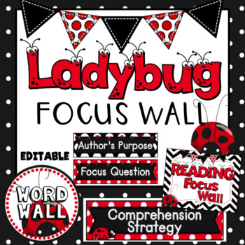 Reading Focus Wall (Ladybug Theme) with Banner