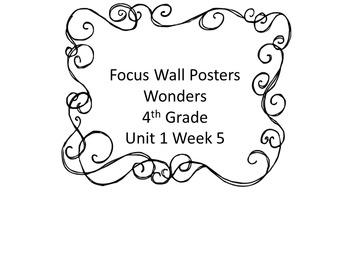 Reading Focus Wall - Wonders - Unit 1 - Week 5