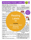 Reading Food Labels Content Sheet, Worksheet And Answer Key