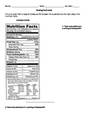 Reading Food Labels Worksheet