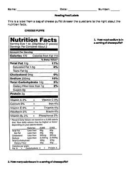 Reading Food Labels Worksheet By Miss Doubleu Teachers Pay Teachers