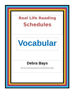 Reading For Life:  Schedules Vocabulary