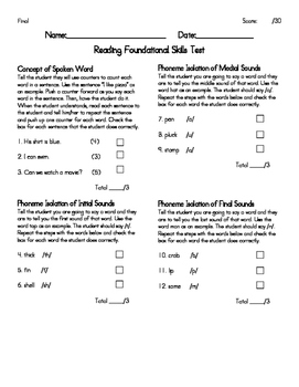 Reading Foundational Skills Assessments
