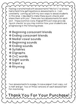 First Grade Reading Foundational Skills Exit Slips