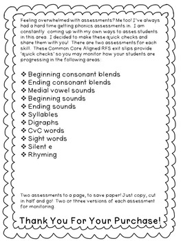 First Grade Reading Foundational Skills Exit Slips