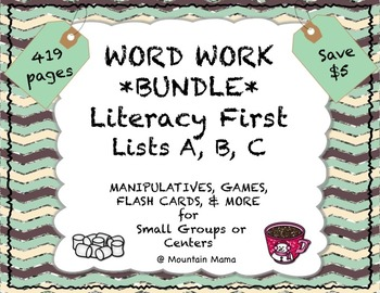 Reading Foundations Word Work Literacy First  A, B, C BUNDLE Games & Activities