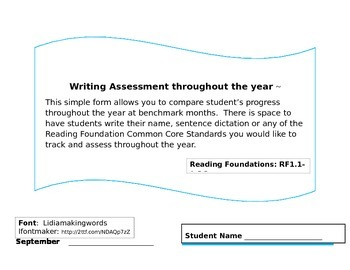 Reading Foundations Writing Assessment
