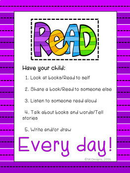 Home Reading Parent Letter (editable) plus Poster - free resource
