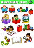 Reading Clipart Set, Reading Fun Kids